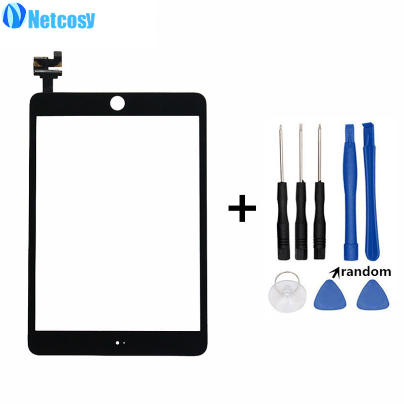 Netcosy For ipad mini 3 Touch screen digitizer glass panel with IC conector for ipad mini 3 mini3 Tablet touch panel & tools original touch screen digitizer for ipad mini2 white black new tp ic replacement glass screen