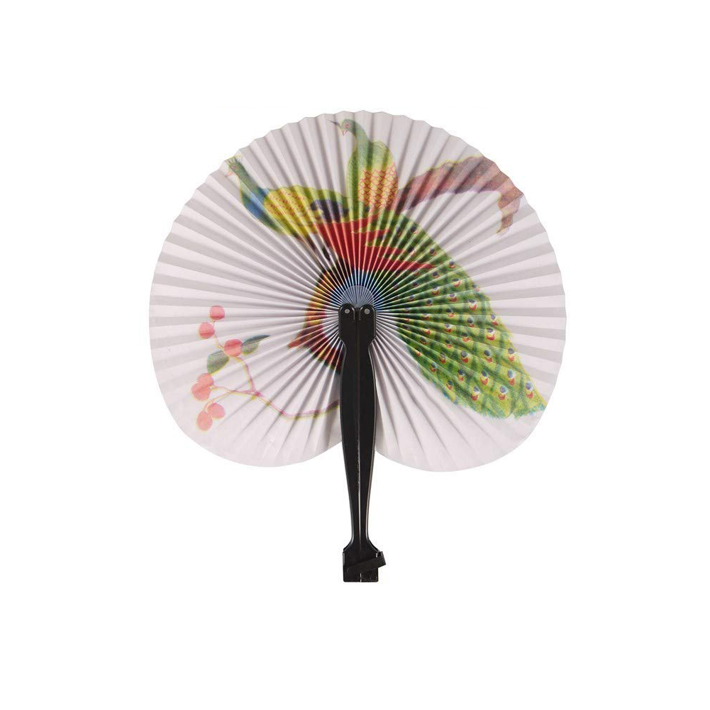 1 Piece Foldable Paper Fans Hand Held Folding Fans Creative Retro Windmill Small Round Paper Fan Chinese Style Hand Fan Wedding