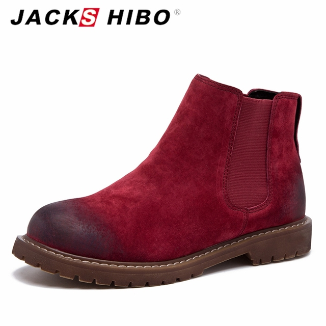 JACKSHIBO Genuine Leather Ankle Boots for Women Fashion Ladies Shoes Female Winter Boots Adult Red Boots Zapatillas Mujer