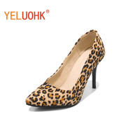 33 46 Leopard Shoes Women Heels 9 CM Sexy High Heels Big Size Spring Autumn Pumps