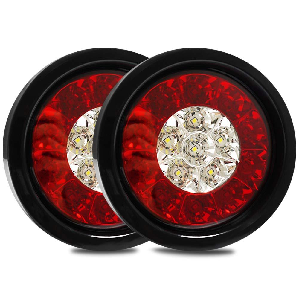 Fuleem 2PCS 4Inch Round LED White Red Taillights With Rubber Grommet 16LED 12V Stop Brake Running Reverse Backup Light For Truck