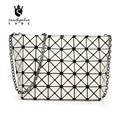 2016 New Fashion Women PU Bag Geometric Diamond Lattice Laser Sequins Handbags Chain Crossbody Folding Bags Zipper Clutch Bag
