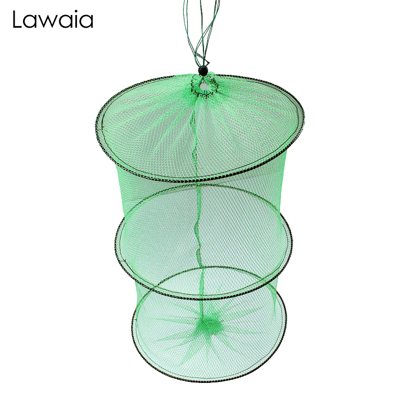 Lawaia Mini Fish Net Bag Portable Fishing Gear Collapsible Nylon Fast-drying Small And Shrimp Retractable