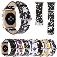 Genuine Leather Band For Apple Watch Series 3 Strap Stars Smile Skull Dots Lips Bracelet For