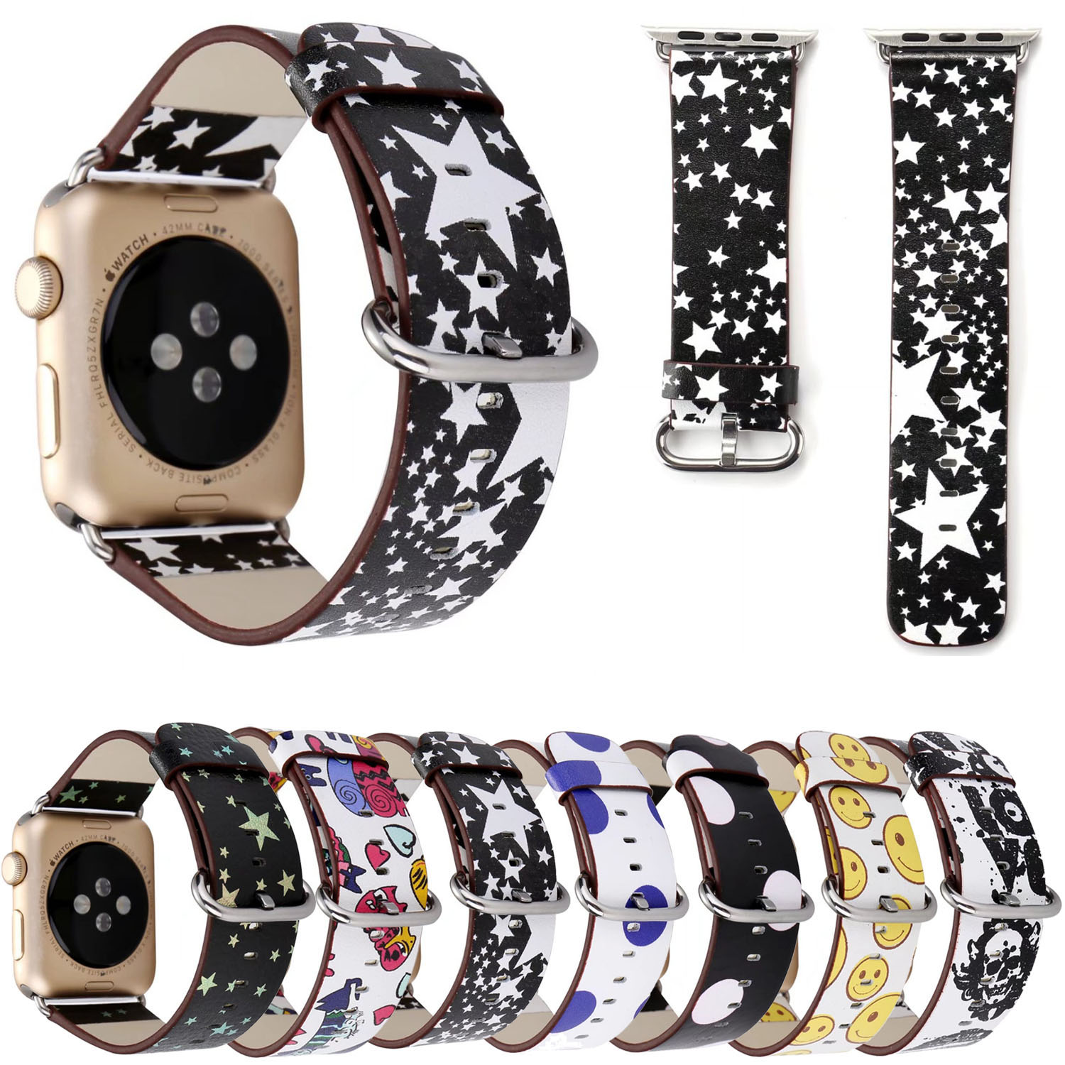 Genuine Leather Band for Apple Watch Series 3 Strap Stars
