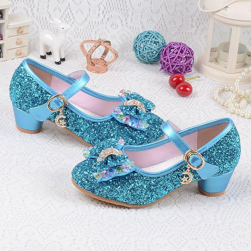 Childrens Sequins Shoes Enfants 2017 Baby Girls Wedding Princess Kids High Heels Dress Party Shoes For Girl Pink Blue Gold