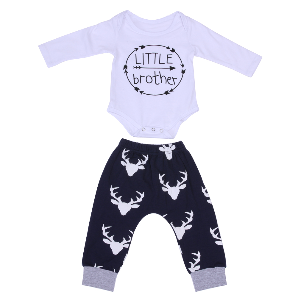 e8de6c593 Lowered Baby Boy Girl Clothing Print Letter Tops +Long Pants Outfits ...