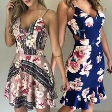 Hirigin 2019 Newest Summer Women Ladies Sexy Sleeveless Bandage Bodycon Evening Party Night Club Elegant  Floral Dress
