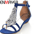 ENMAYER T-Strap Fashion Women Sandals Open Toe Wedges Med Beading Summer Shoes Platform Sandals Girl Casual Sandals for Women