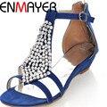 Enmayer t-correa de las mujeres de la manera sandalias de punta abierta cuñas med rebordear zapatos de verano sandalias de plataforma sandalias de la muchacha ocasional para mujeres