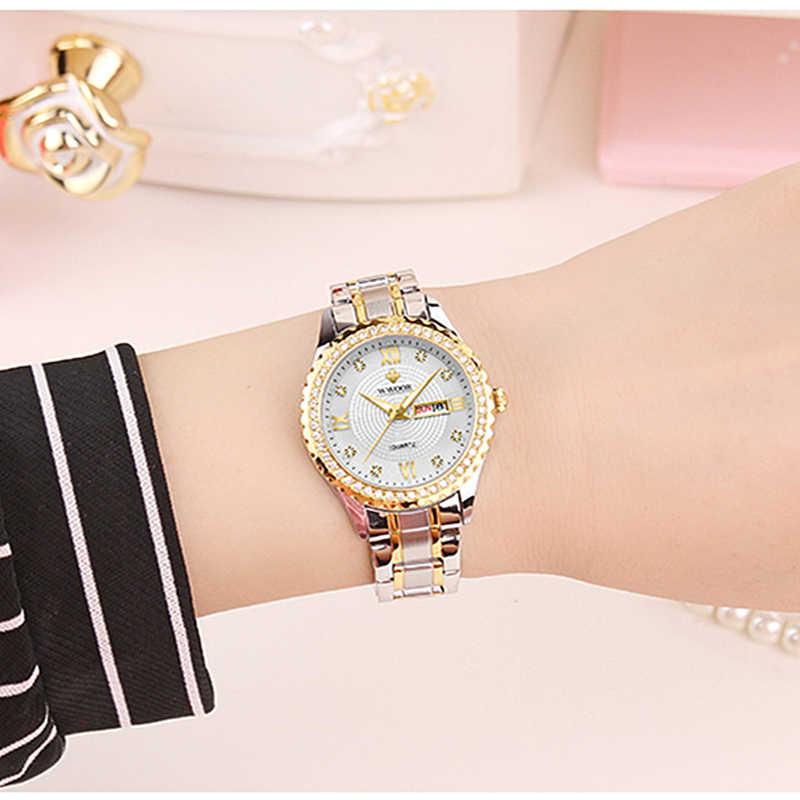 WWOOR nowe złote bransoletki z zegarkiem damskie wodoodporne zegarki damskie ze stali nierdzewnej Casual Dress damski zegarek kwarcowy kobiety Reloj Mujer