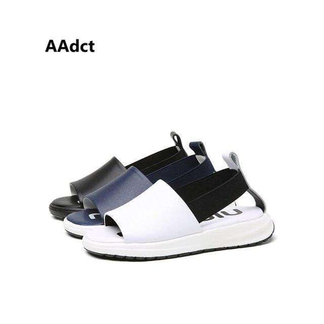 2017 летняя мода мальчиков сандалии кожаные случайные маленькие дети сандалии Марка Высококачественные детские сандалии обувь с открытым носком платформы