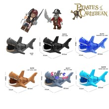 Single Captain Pirates of The Caribbean Halloween Zombie Pirate Shark figure building blocks models bricks toys for children kit(China)