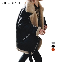 RIUOOPLIE Winter Womens Fleece Fur Biker Aviator Jacket Coat Zipper Warm Lapel Outwear