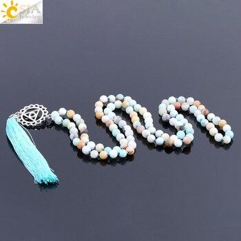 732beae9d342 CSJA 108 Natural amazonita larga borla collar 6mm Mala rosario de perlas de  piedra de GEMA de Chakra étnicos anudadas a mano daWanda joyas y bisutería  ...