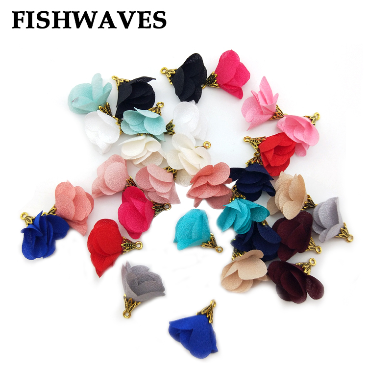 FISHWAVES 10pcs Mix Color Silk Satin Fabric Flower Tassel With Gold Color Cap Pendant For DIY Jewelry Making Accessories