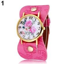 Popular Women's Arabic Numerals Peony Floral Dial Wide Faux Leather Bracelet Wrist Watch NO181 5UXC