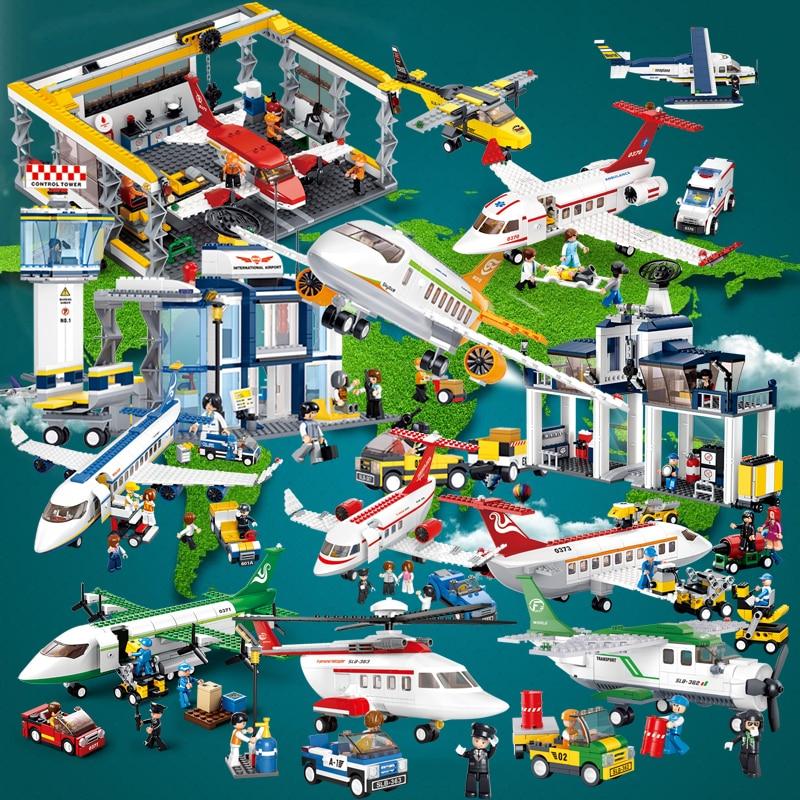 Sluban Aviation Maintenance Base Medical Plane Airbus Helicopter Ambulance Truck Car DIY Building Blocks Toy for