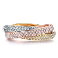 3 Rings Classical Jewelry 925 Silver&Rose Gold&Yellow Gold Double Row Pave 5A Zirconia CZ Eternity Women Wedding Finger Ring Set