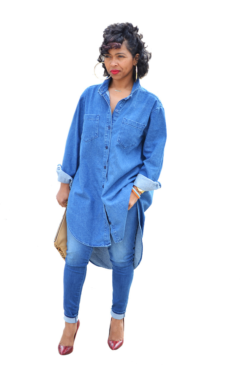 Womens Plus Size Denim Shirt Dress | AGBU Hye Geen