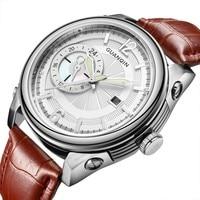 Mens Watches Top Brand Luxury GUANQIN Quartz Watch Men Sport Waterproof Big Dial Leather Wristwatch