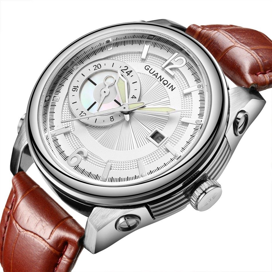 Mens Watches Top Brand Luxury GUANQIN Quartz Watch Men Sport Waterproof Big Dial Leather Wristwatch 2016 new fashion watches men luxury top brand guanqin big dial full black sport quartz watch male wristwatch with stopwatch