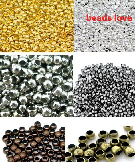 (1000Pcs/lot )2.5mm Dia Pick 6 Colors Jewelry Findings Smooth Ball Crimps Beads (w02935)Free Shipping!