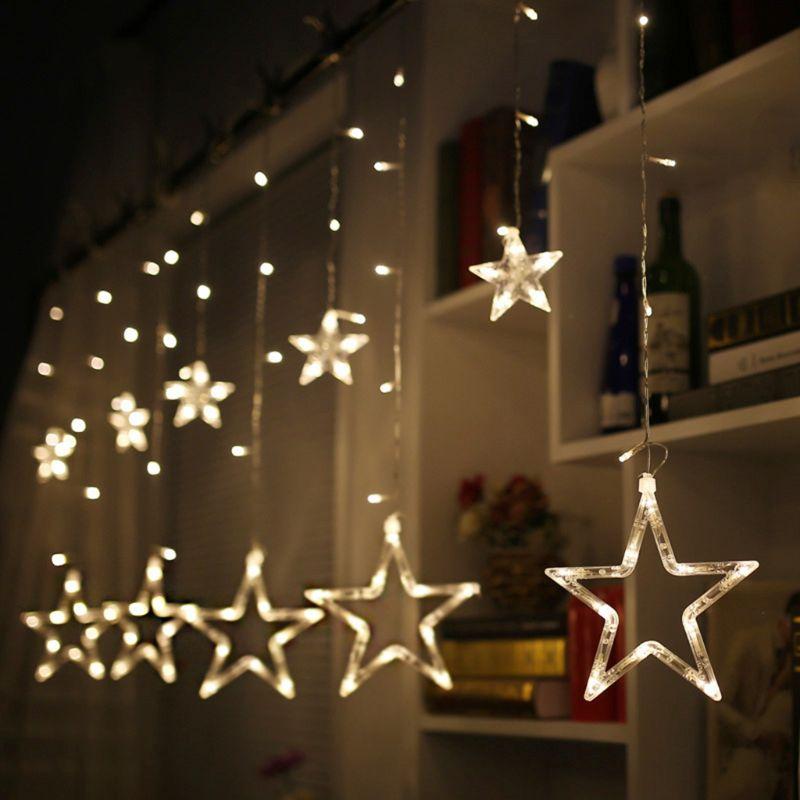 Window Curtain 138 LED Lights String 12 Stars EU Plug 8 Flashing Modes Bedroom Ornament Wedding Birthday Christmas Party Decor