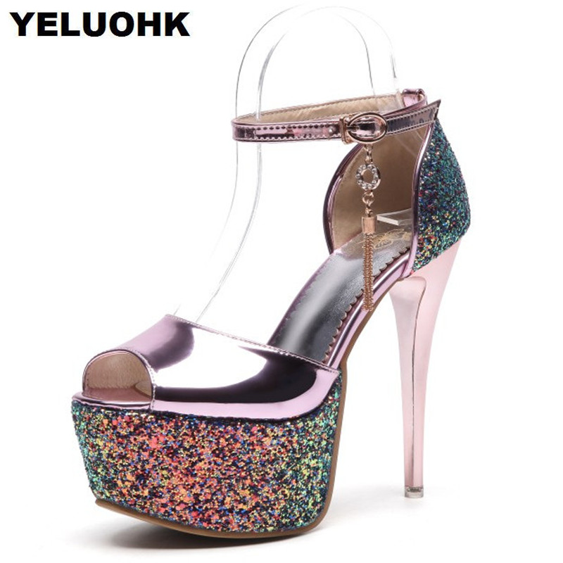Large Size 43 Sexy High Heels Women Shoes Fashion Glitter Shoes Woman Pumps 14cm Summer Sandals Open Toe Ladies Shoes Stiletto suru women wedges sandals ladies heels summer shoes big us large size 8 5 9 5 10 5 11 12 13 14 europe 40 41 42 43 44 45 a38