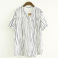 Womens Tops And Blouses Cotton Linen Summer Striped Print Women Shirts Blouses Vintage Summer Tops Casual
