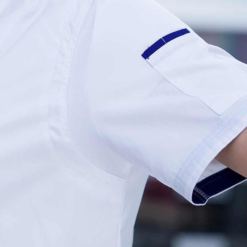 Шеф-повар пальто короткий рукав человек китайский ресторан Дракон шеф-повара дышащая двубортный Еда услуги Пособия по кулинарии одежда 90