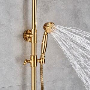 Image 3 - ברזי אמבטיה יוקרה זהב פליז אמבטיה ברז מיקסר ברז קיר רכוב מקלחת ראש אמבטיה זרבובית מקלחת ברז סטים