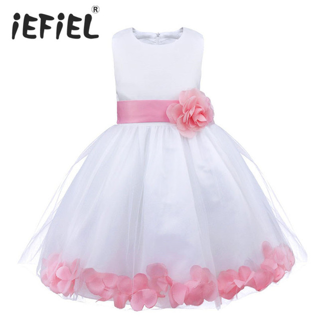 b536c2748c037 Enfants infantile fille fleur robe enfants pétales demoiselle d honneur  enfant en bas âge robe