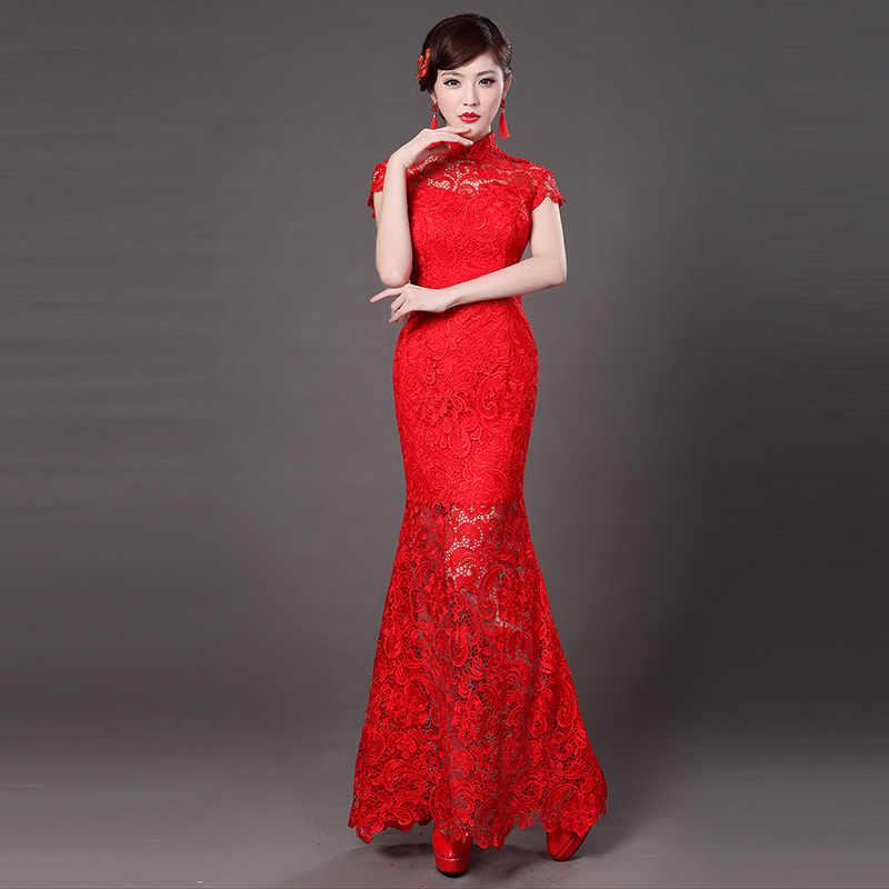 Красные кружевные современные китайские свадебные платья традиционный Qipao Cheongsam дизайнерское вечернее платье с принтом рыбы Vestido Oriental Qi Pao