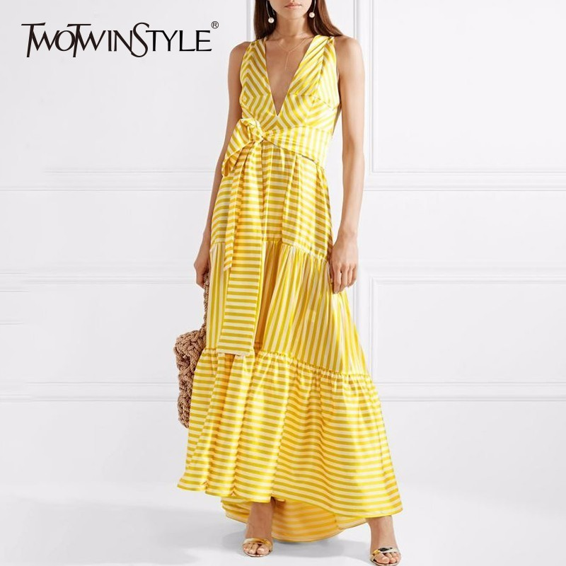 TWOTWINSTYLE Striped Bohemian Maxi Dresses Women Sleeveless Deep V Neck Lace up Sexy Dress Female Casual Summer Holiday 2018 New twotwinstyle striped dress female deep v neck long sleeve slim bandage summer dresses for women hollow out ol style fashion tide