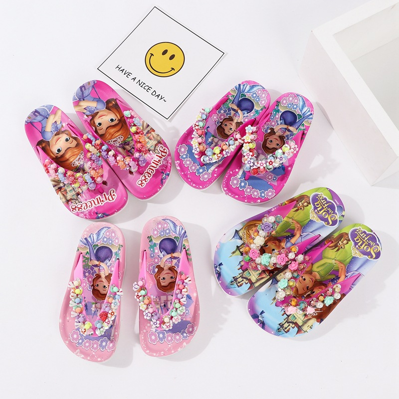 Summer Children Girls Sofia With Flower Princess PVC Beach Slippers Non-slip Flip Flop 888 2colors XQ01