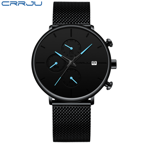 CRRJU Fashion Date Mens Watches Top Brand Luxury Waterproof Sport Watch Men Slim Dial Quartz Watch Casual Relogio Masculino Lahore
