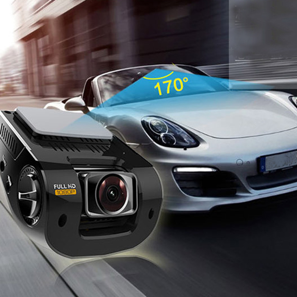 Mini Car Camera Dual Lens Car DVR Dash Cam HD 1080p 170 Wide Angle With G-Sensor WDR Loop Recording And Night Vision