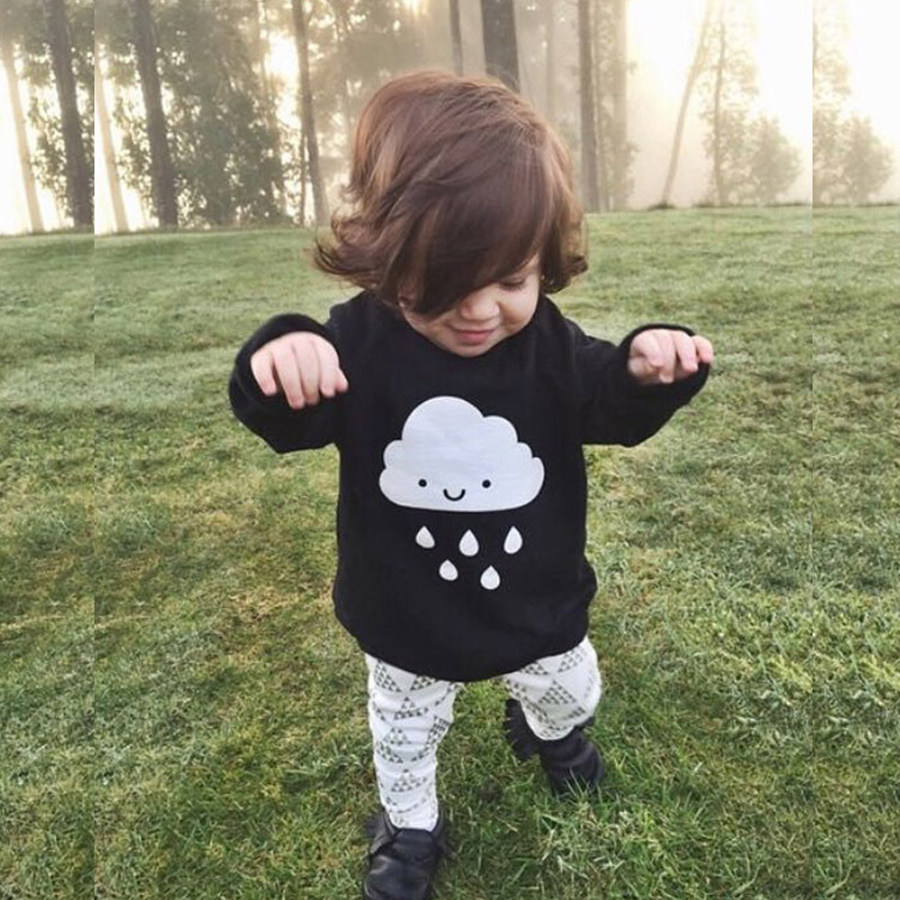 Yeni Uşaq Oğlanları Qızlar Dəri Sviter Moda Buludları Pattem Uşaqlar Qalın Jumper Pullvers Sviter Payız Baby Qızlar Geyimləri Top
