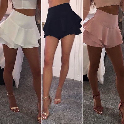 Summer Women Layered Ruffled Frill Skorts High Waisted Party Mini Skirt Shorts Ladies Womens Brief Solid Skirts Clothing