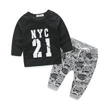 Baby boy clothes t shirt with printed pant for baby boys NYC printed baby clothes fashion vestido newborn boys clothes cheap PureMilk COTTON Casual O-Neck Sets Pullover Full REGULAR Fits true to size take your normal size JERSEY Coat Unisex Dorp shipping and wholesale