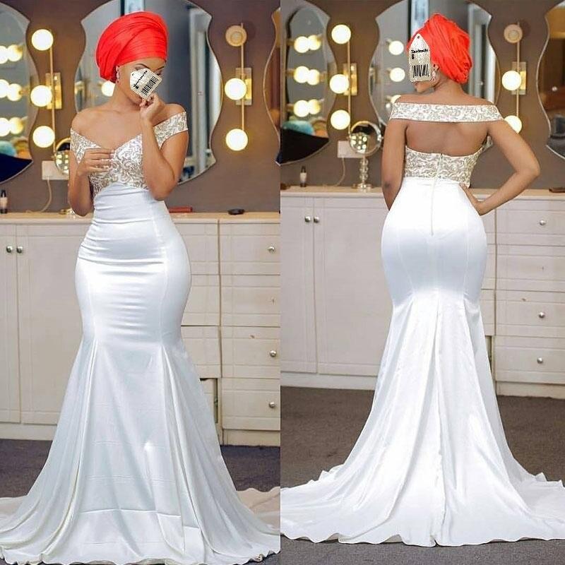 Vestido De Festa White Evening Dresses Elegant Off Shoulder Long robe de soiree African Gowns Evening