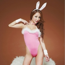 Sexy Pink Lingerie Babydoll Rabbit Bunny Costume for Crossdressers & Shemales