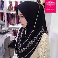Muslimischen kopftuch 2018 sommer Malaysische chiffon stickerei kopf weibliche schal Hui abdeckung lange handtuch multicolor kopftuch schal L609