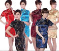 Бесплатная доставка моды cheongsam новый продажа дракон и феникс напечатаны старинные cheongsam платье мандарина qipao платье дракон платья