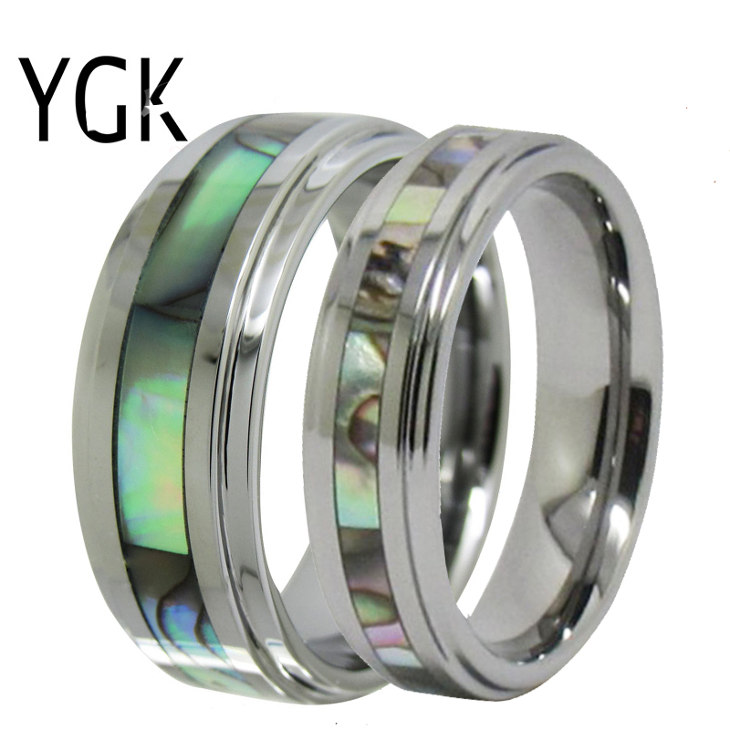 YGK Jewelry Love Forever Ring Abalone Inlay Silver Step Tungsten Ring Tungsten Wedding Ring For Men and Women Bridegroom Ring gold and silver forever love steel couple ring for men 8 size
