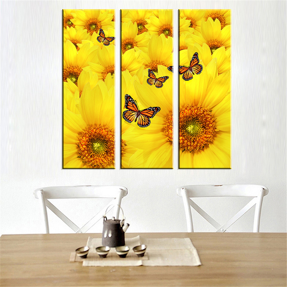 Online Shop 3 panel Unframed Canvas Picture Sunflower Art Modular ...