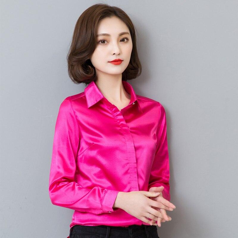 Tafforda 2018 Women Silk Satin Blouse Elegant Female Satin Silk Blouses Shirt Long Sleeve Button Lapel Ladies Office Work Shirts