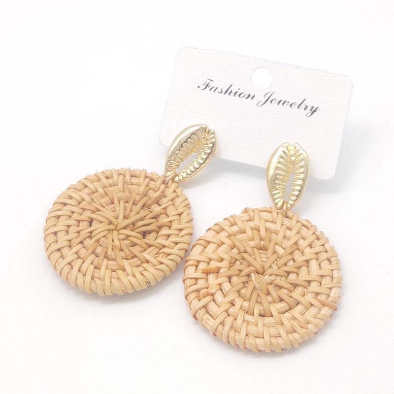 Bohemian Wicker Rattan Knit Pendant Earrings Handmade Wood Vine Weave Geometry Round Statement Long Earrings for Women Jewelry 14
