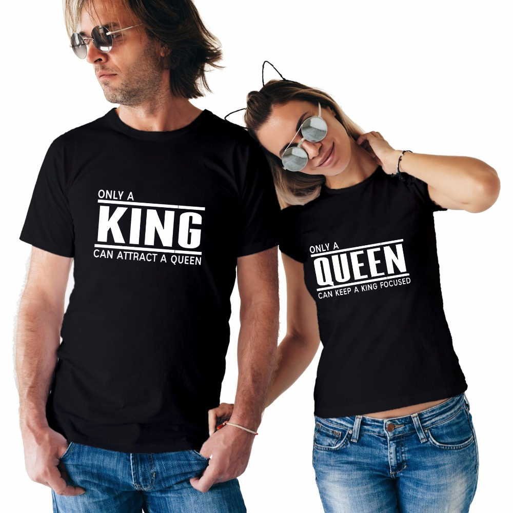 New Summer Valentine's T Shirts the  KING the QUEEN Letter Printing Funny Casual O-neck Tops Tees Short Sleeve Couples Clothes